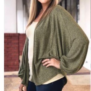 BOBEAU  Olive/Black Cardigan Sweater